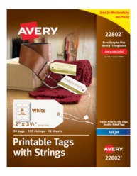 Avery Printable Tags with Strings 22802 Packaging Image