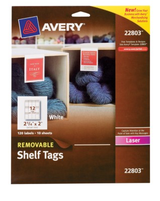 "Removable Shelf Tags, Laser, 2""x2-1/4"" 22803"