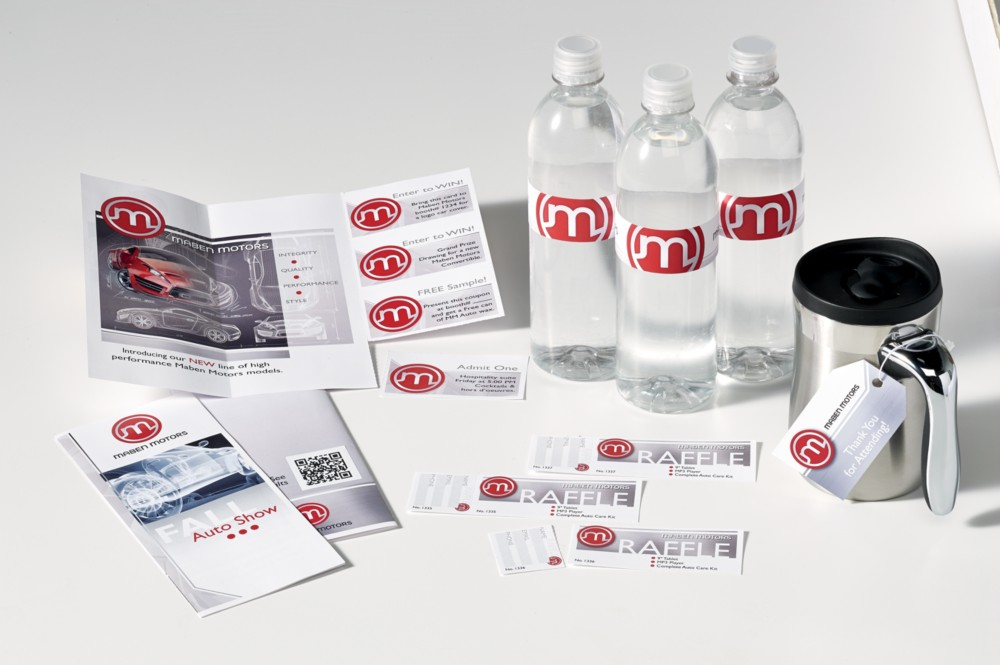 Maven Motors tradeshow brochures, raffle tickets and freebies