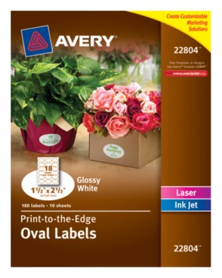 "Easy Peel(R), Permanent, Glossy White Oval Labels, Laser/InkJet, 1-1/2""x2-1/2"", Print-To-The-Edge 22804"