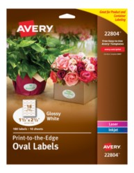 Avery Easy Peel® Print-to-the-Edge White Oval Labels 22804 Packaging Image