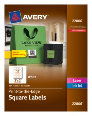 "Square Label, White, Permanent, Inkjet/Laser 2""x2"" 12 up, 25 sheets 22806"