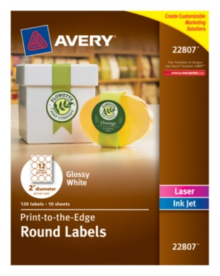 "Easy Peel(R), Permanent, Glossy White Round Labels, Laser/InkJet, 2"", Print-To-The-Edge 22807"