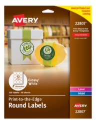 Avery® Easy Peel® Print-to-the-Edge White Oval Labels 22807 Packaging Image