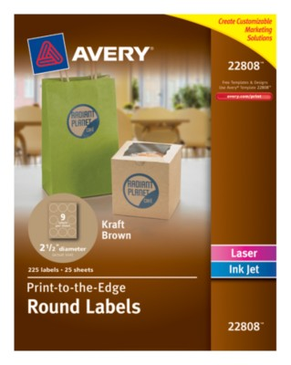 "Permanent, Kraft Brown Round Labels, Laser/InkJet, 2-1/2"", Print-To-The-Edge 22808"