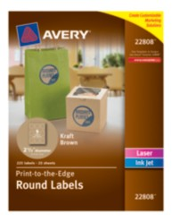 Avery Kraft Brown Round Labels 22808 Packaging Image