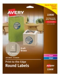 avery print to the edge kraft brown round labels