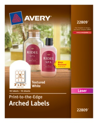 "Textured Arched Labels, Laser, 3"" x 2-1/4"", White, Print-To-The-Edge, 9up 10shts 22809"