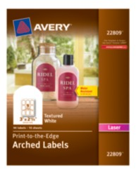 Avery Print-to-the-Edge Textured White Arched Labels for Laser Printers 22809 Packaging Image