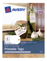 Avery® Print-to-the-Edge Printable Tags 22812, Packaging Image