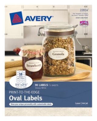Business Builder Glossy White Labels, Oval 1-1/2x2-1/2, 18 up 22814