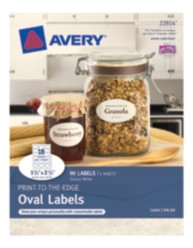 Avery ® Print-to-the-Edge Oval Labels 22814, Glossy White, Packaging Image