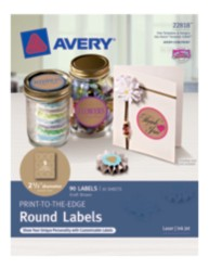 "Avery® Print-to-the-Edge Round Labels 22818, Kraft Brown, 2-1/2"" Diameter, Packaging Image"