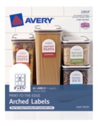 "Avery® Print-to-the-Edge Arched Labels 22819, 2-1/4"" x 3"", Packaging Image"