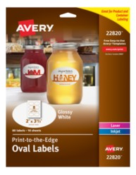 Avery® Print-to-the-Edge Oval Labels 22820,  Packaging Image