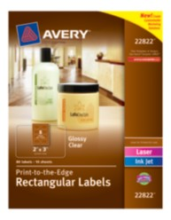 Avery® Print-to-the-Edge Rectangular Labels 22822, Packaging Image