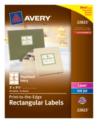 "Pearl Finished Rectangular Labels, 3""x3-3/4"", Ivory, Laser/InkJet, Permanent, PTTE, 6up 8 shts 22823"