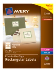 Avery® Print-to-the-Edge Rectangular Labels 22823, Pearlized Ivory, Packaging Image