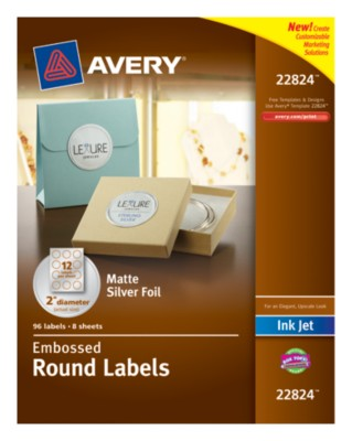 "Foil Embossed Round Label, 2"" diameter, Silver, InkJet, Permanent. Easy Peel, 12up 8 shts 22824"