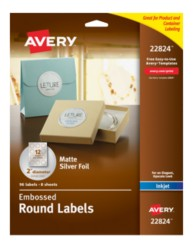 Avery® Embossed Round Labels 22824, Matte Silver Foil, Packaging Image