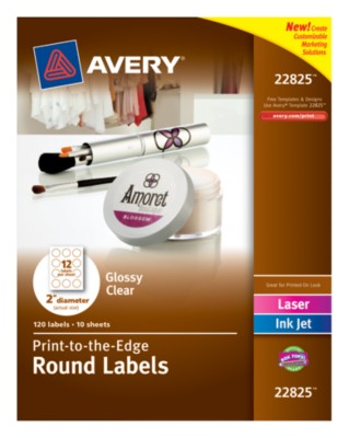 "Glossy Clear Round Labels, 2"" Diameter, Laser/InkJet, Permanent, Easy Peel, PTTE 12up 10 shts 22825"