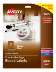 Avery® Print-to-the-Edge Round Labels 22825, Packaging Image