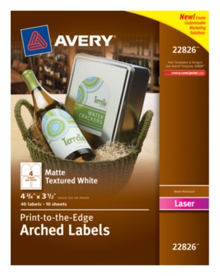 "White Textured Arched Labels, 4-3/4""3-1/2"", Permanent, Laser, 4 up 10 shts 22826"