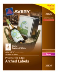 Avery® Print-to-the-Edge Arched Labels 22826, Packaging Image