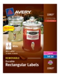 "Avery® Removable Durable Rectangular Labels 22827, White, 3-1/2"" x 4-3/4"", Packaging Image"
