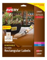 "Avery® Removable Durable Rectangular Labels 22828, White, 1-1/4"" x 1-3/4"", Packaging image"