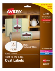 Avery® Print-to-the-Edge Oval Labels 22829, Packaging Image