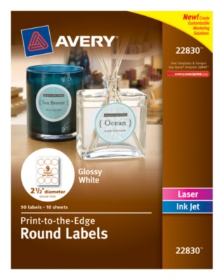 "Glossy White Round Labels, 2-1/2"", Laser/InkJet, Permanent, PTTE, 9up 10shts 22830"