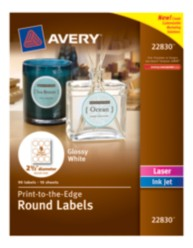 Avery® Print-to-the-Edge Round Labels 22830, Packaging Image