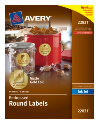 "Gold Foil Embossed Round Labels, 2"" diameter, InkJet, Permanent, 12up 8shts 22831"