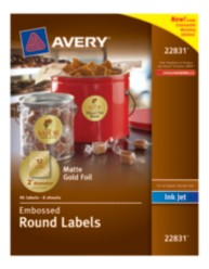 Avery® Embossed Round Labels 22831, Matte Gold Foil, Packaging Image