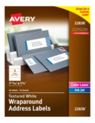 Avery® Textured White Wraparound Labels 22838, Packaging Image