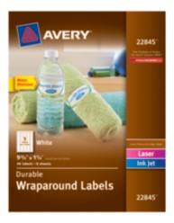 "Avery® Durable Wraparound Labels, 9-3/4"" x 1-1/4"", White, Pack of 40"