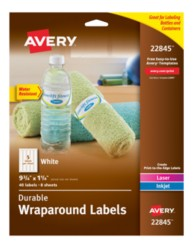 water bottle labels template avery avery durable white wraparound labels