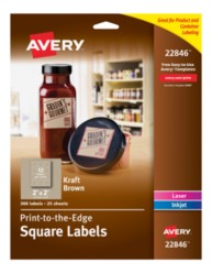 Avery® Easy Peel® Print-to-the-Edge Kraft Brown Square Labels 22846, Application Image
