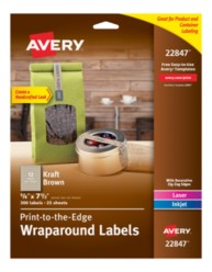 Avery® Print-to-the-Edge WrapAround 22847, Kraft Brown, Packaging Image