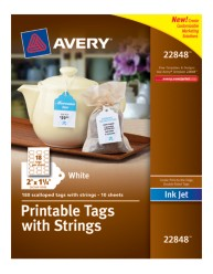 Avery® Printable Tags with Strings 22802, Packaging Image