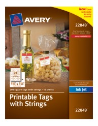 Avery® Printable Tags with Strings 22849, Packaging Image