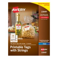 Irresistible image inside avery printable tags with strings