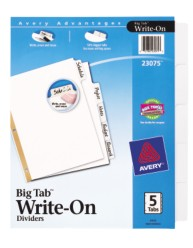 Big Tab Write-On Dividers with Erasable Laminated Tabs