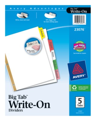 Big Tab Write-On Dividers with Erasable Laminated Tabs 23076