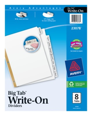 Big Tab Write-On Dividers with Erasable Laminated Tabs 23078