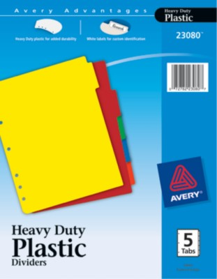 Plastic Dividers with Tab Labels 23080