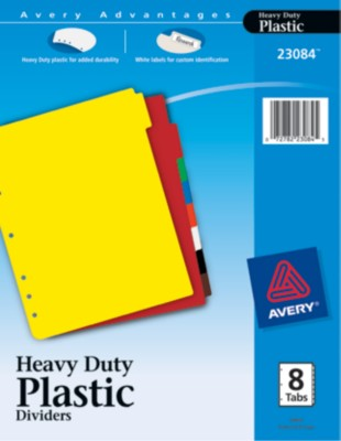 Plastic Dividers with Tab Labels 23084