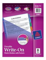 Avery® Durable Write-On Plastic Dividers with Pockets 23801, Packaging Image