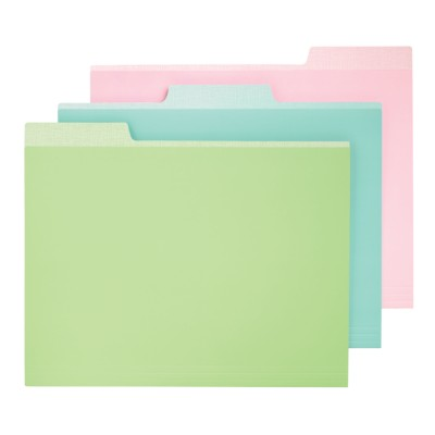 "MSHO, 6 FILE FOLDERS, ASSORTED COLORS-GREEN, BLUE, PINK, 9.5""X11.5"" 24517"
